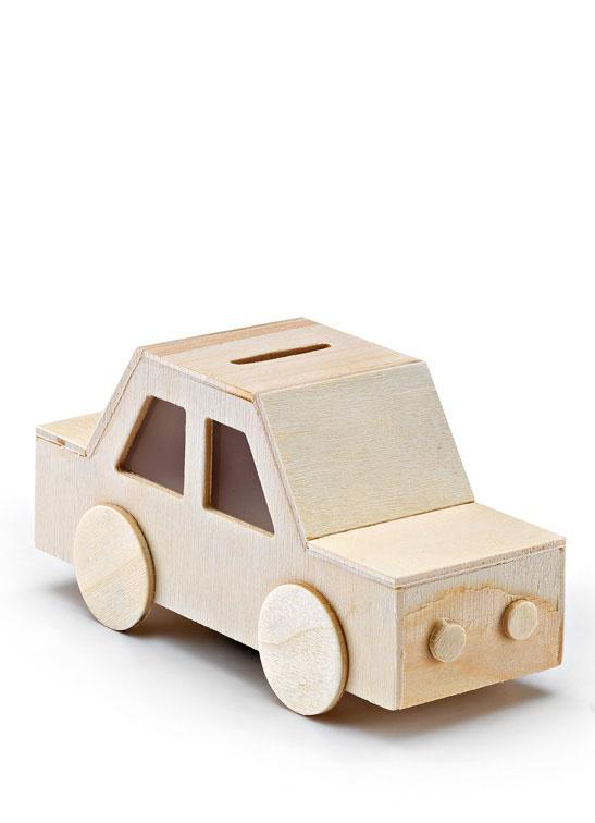 Μπομπονιέρα Βάπτισης ξύλινος κουμπαράς αυτοκινητάκι (208-8162)