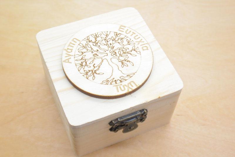 Μπομπονιέρα Ξύλινο κουτί δέντρο της ζωής (152075)