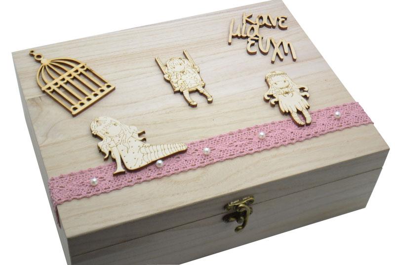Ξύλινο Κουτί ευχών βάπτισης santoro gorjuss (766623)