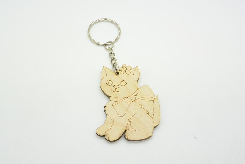 Ξύλινο Μπρελόκ γατάκι (600182)